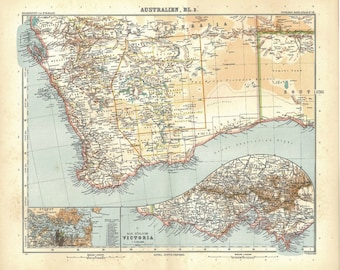 1912 Western Australia Large Vintage Map, Physical Map