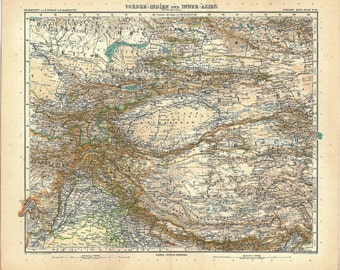 1912 India and North Central Asia Vintage Map, Stieler