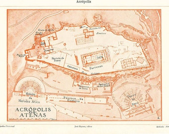 Acropolis of Athens Floor Plan 1920s Ancient Greece Historical Map
