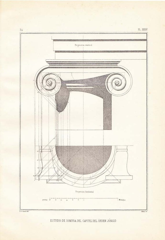 Architectural Print Vignola Shadow Study Ionic By
