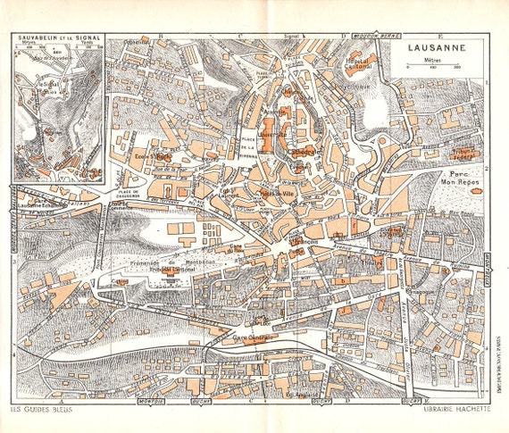Vintage City Map Lausanne 1953 Switzerland  Street Map to Frame