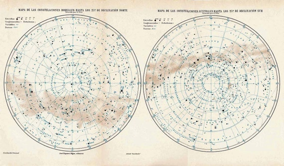 Constellations Map, Antique Star Chart,  Astronomy, Northern and Southern Hemispheres, Celestial Sphere