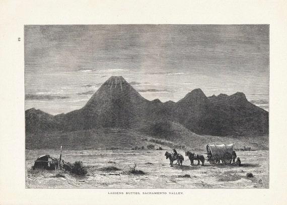 1895 American Landscape Illustration Lassens Buttes, Sacramento Swain Gifford, Picturesque America