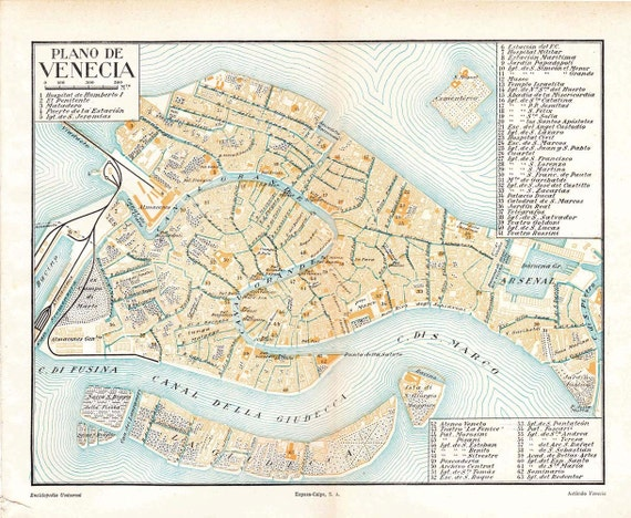 Venice City Map, Vintage Street Plan, Italy, Town Plan