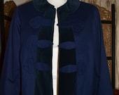Vintage Blue Velour Blazer/ Size 10