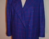 Carlisle Plaid Blazer/Size XL / Plaid Blazer Jacket/ Wool Blazer