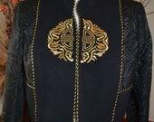 Vintage Michael Calderon Blazer/ Motif Blazer/ with Mandarin Collar