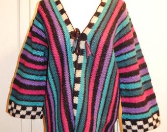 Multi-colored Knit Sweater /Handmade Cardigan/  Large