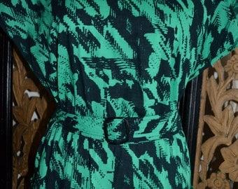 Vintage Green & Black Party Dress