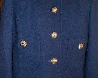 Vintage Herbert Grossman Blazer/ Navy Blue Blazer/ Size 8-10