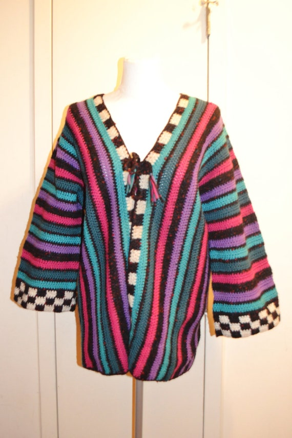 Multi-colored Knit Sweater /Handmade Cardigan/ Large