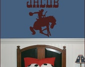 Cowboy Wall Decal Monogram Decal