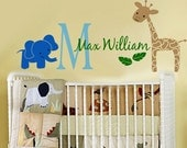Wall Decal Childrens Jungle Monogram EXTRA LARGE