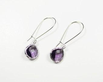 10% OFF, Amethyst earrings, glass earrings, long earrings, Kidney earrings, Bead earrings, Glass earrings, Silver earrings,Crystal earrings