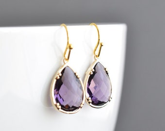 10% OFF, Amethyst earrings, Gold earrings, Wedding earrings, Bridal jewelry, Bridesmaid gift, Anniversary gift,Christmas gift,Clip earrings
