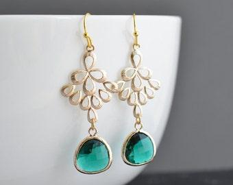 30% OFF, Emerald earrings, Oriental earrings, Fan earrings, Gold earrings, Emerald earrings,Brides maid gift,Bridal earrings,Christmas gift