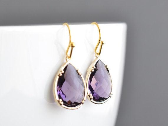 SALE, Amethyst earrings, Gold earrings, Wedding earrings, Bridal jewelry, Bridesmaid gift, Anniversary gift, Christmas gift, Clip earrings
