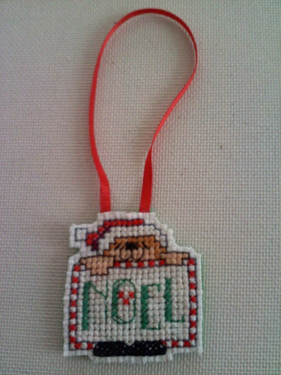 Cute Teddy Bear Cross Stitch Christmas Ornament