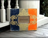 4x6 Picture Frames Distressed Wood Navy Blue and Orange