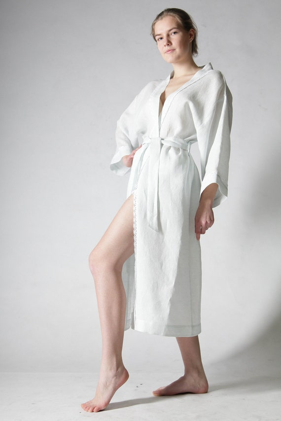 Pure Linen Long Night Gown/Bath Robe Laced  for Woman