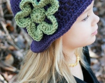 Little Girl's Crochet Hat with Flower Vintage-Look Crochet Baby Hat in Plum and Green