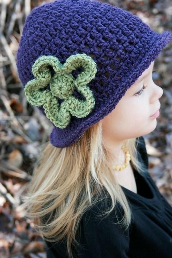 Little Girl's Crochet Hat with Flower Vintage-Look Crochet