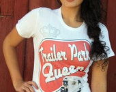 Organic Ink Trailer Park Queen retro rhinestone crown tshirt Jr Size Free Shipping