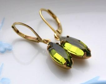 Olivine navette estate style drop earrings, olivine earrings, green earrings, navette earrings, small earrings, olive green earrings ON03