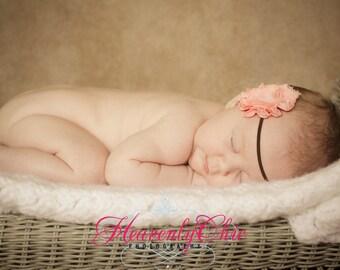 Shabby Coral Frayed Chiffon Flower Skinny Headband - Photo Prop - Newborn Infant Toddler - Boho