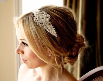 Ivory or White Lace Crystal Headband  Bridal Wedding Accessories
