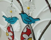 The Birds and the Daisies - Handmade painted whimsical earrings