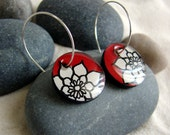 The White Dahlias on Red  - Handmade painted whimsical earrings