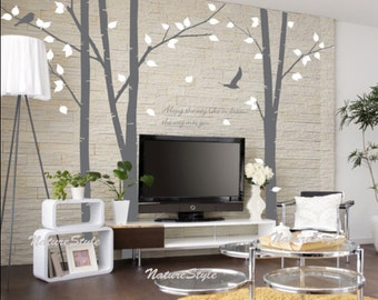 Birch trees decal  flying birds wall decal boy nursery decal -Vinyl Wall Decal Wall Sticker-3 Birch Tree with Flying Birds
