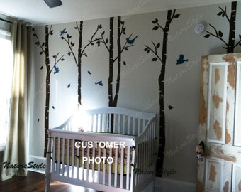 Children kids Nursery wall decal tree Wall decal birch tree wall mural Nursery vinyl wall decal birds forest--6 Birch Tree with Flying Birds