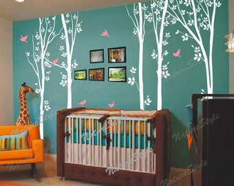 trees wall decal birthday baby boynursery wall decal wall mural office wall decal birds vinyl decal wall room sticker-Tree with Flying Birds