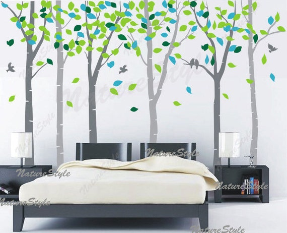 wall decal tree wall decal nursery wall decal baby wall decal children wall decal bedroom vinyl decal-6 Birch Tree with Colorful leaves