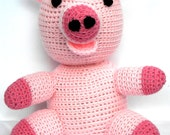 "Crochet pig toy, soft, plush, stuffed, amigurumi. Farm animal. 12"" tall. Child safe. MADE TO ORDER"