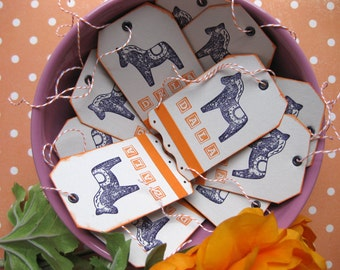 Dala Horse Gift Tags-Orange and Black on Light Gray-Baker's Dozen 13-Swedish Stationary-Scandinavian Gift Wrap-Handstamped by Couture Nicole