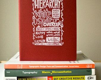 JOURNAL - Graphic Design Checklist Sketchbook Hierarchy Margin White Space Overlap PRINT LINOCUT