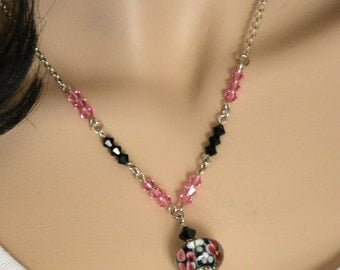 Lamp work silver plated necklace - black and pink crystal necklace