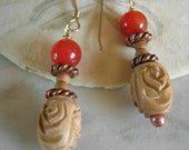 Orange Carnelian, Copper & Carved Sandalwood Earrings - Gift Under 25.00 USD