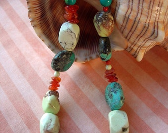 Turquoise, Citron, Coral & Carnelian Necklace