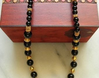 60's Style Black Onyx & Vermeil Gold Beehive Cone Necklace - Leo Birthstone - Mad Men - Healing Stone