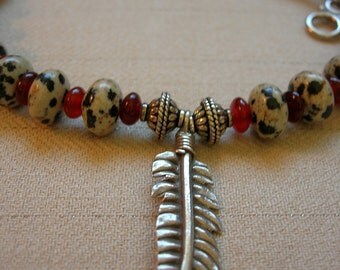 Black & White Dalmation Jasper, Red Horn Beads, Sterling Silver Feather Cowgirl Necklace - Gift Under 100.00 USD