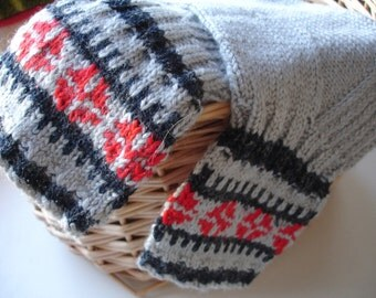 Grey Socks, boot socks, wool knit socks, Nordic ornaments socks, US 10 - 10 1/2, grey red black socks, wool socks, home socks, OOAK