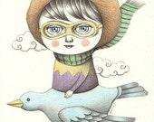 Original Art, Pencil Drawing, Whimsical Illustration - Fly on My Bird Plane by Amalia K
