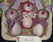 Primitive Whimsical Country Spring EASTER BUNNY Dolls Tucks Bowl Fillers Ornies