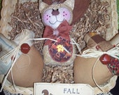 Primitive Whimsical Country Fall Harvest SQUIRREL ACORNS Dolls Bowl Fillers Ornies