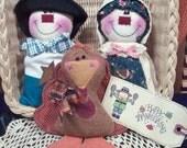 Primitive Whimsical Country Thanksgiving PILGRIMS TURKEY Dolls Tucks Bowl Fillers Ornies