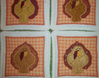 Primitive Whimsical THANKSGIVING TURKEY Coasters Mug Mats Hot Pads Trivets
